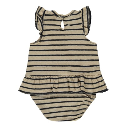 Tocoto Vintage Ruffled Stripe Romper-listing