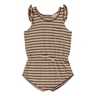 Tocoto Vintage Striped Cotton and Linen Playsuit-listing