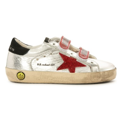 Golden Goose Deluxe Brand Sneakers in pelle con strappi e stella in glitter Superstar Old School -listing