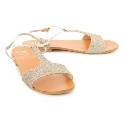 Manuela de Juan  Mikonos Glitter Leather Sandals-listing