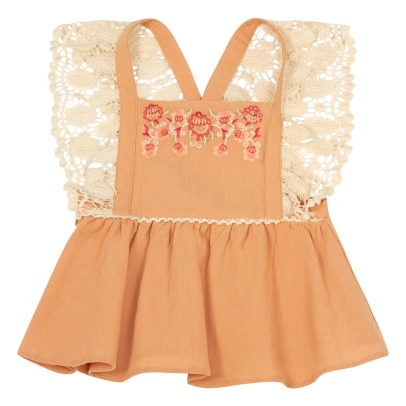Louise Misha Akraka Lace Embroidered Flower Cross Top-product