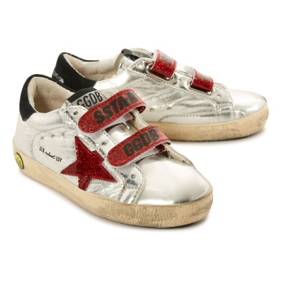Golden Goose Old School Superstar Glitter Star Velcro Leather Low Top Trainers-listing