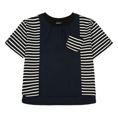 ARCH & LINE Striped Full Two-Tone T-Shirt-listing