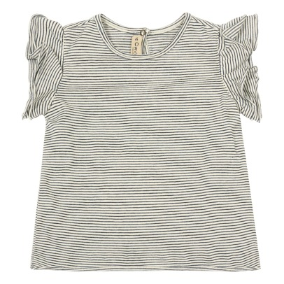 De Cavana Ruffled Sleeve Striped T-Shirt-listing