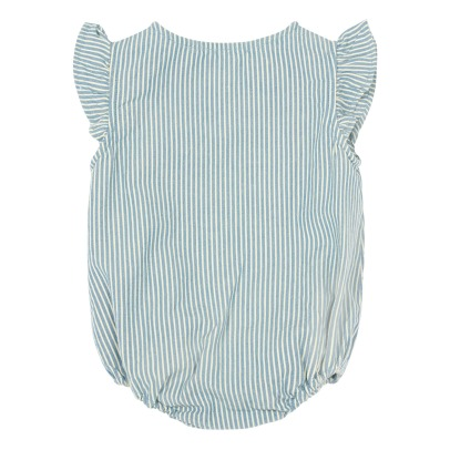 Bonnet à pompon Ruffle Striped Buttoned Romper-listing