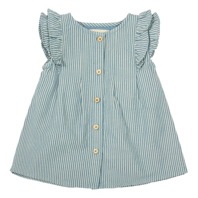 Bonnet à pompon Ruffled Stripe Buttoned Dress-listing