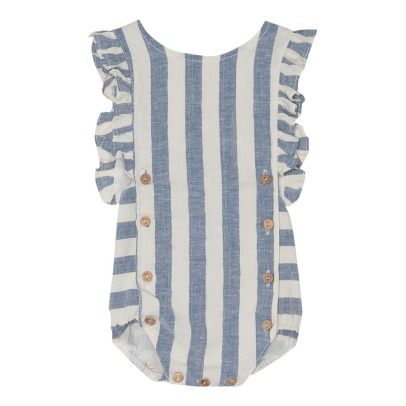 Yellowpelota Striped Linen and Organic Cotton Romper-listing