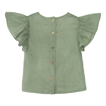 Yellowpelota Peter Ruffled Organic Linen Blouse-listing
