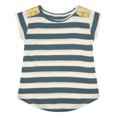 Louis Louise Anais Gold Shoulder Striped T-Shirt-listing