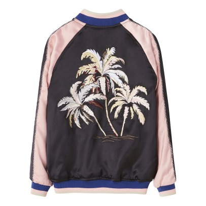 Finger in the nose Pretender Embroidered Palm Tree Back Baseball Jacket-listing