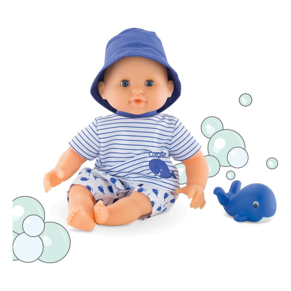 Mon Premier Bébé Bath - Cuddly Baby Boy With His Toy Whale 30cm