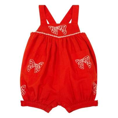 Stella McCartney Kids Gemini Embroidered Bow Cotton and Linen Playsuit-listing