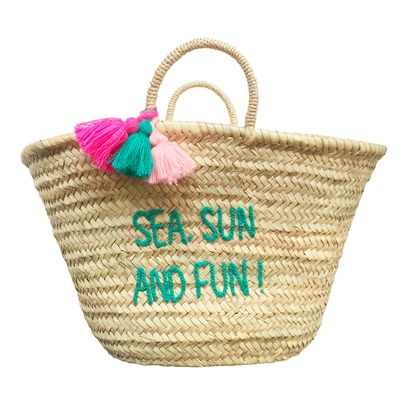 Rose in April Sea, Sun and Fun Adult Embroidered Basket-listing