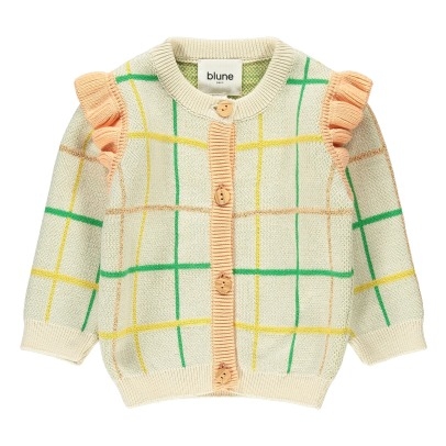 Scoubidou Ruffled Check Cardigan