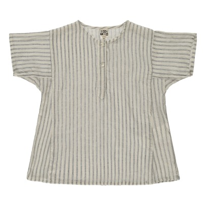 Bonton Napolir Lace Ruffled Stripe Buttoned Blouse-listing