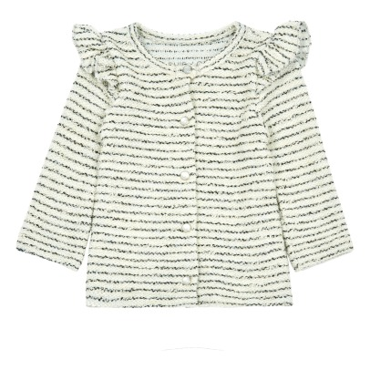 Louis Louise Laura Ruffled Lurex Striped Fleece Cardigan-listing