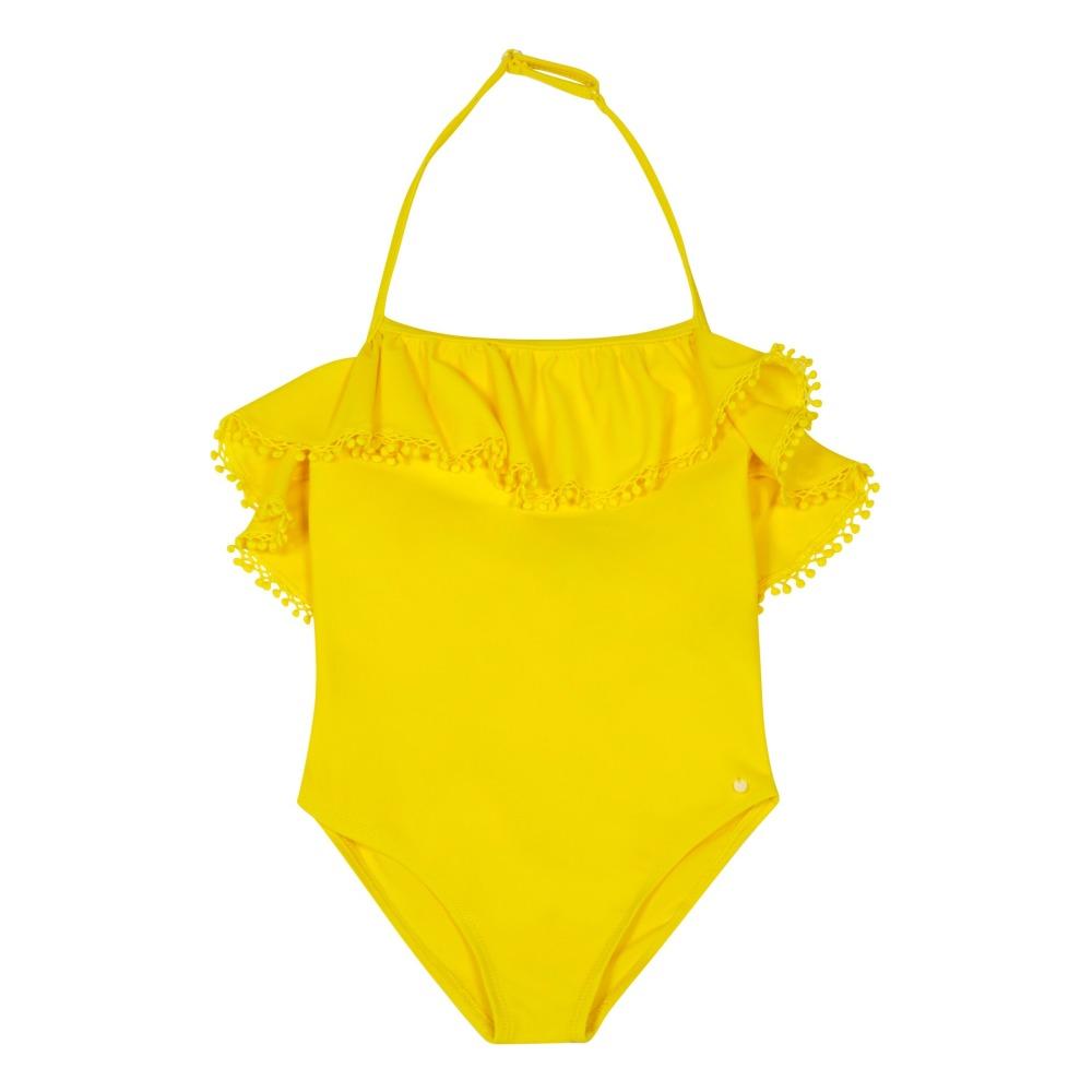 Sale - Pompom Ruffled 1 Piece Swimsuit - Tartine et Chocolat Tartine Et Chocolat Inexpensive Sale Online PLC6Np8edw