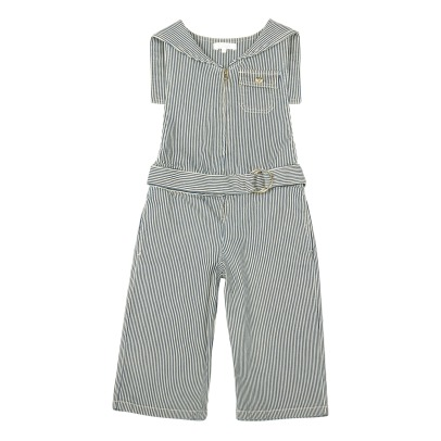 Chloé Marin Striped Collar Denim Dungarees-listing