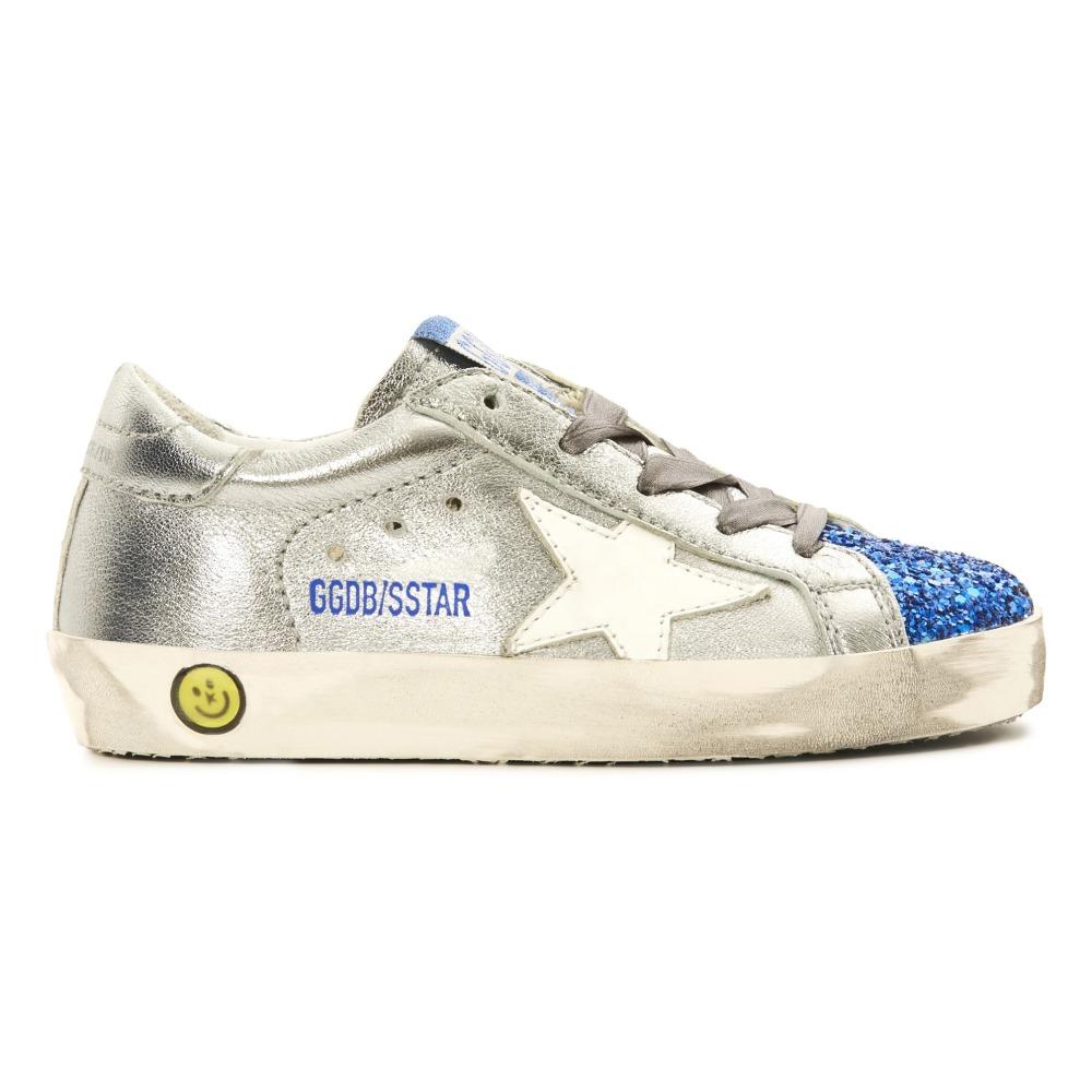 Superstar Glitter Metallic Blue Toe Leather Low Top Trainers Golden Goose 1FloG