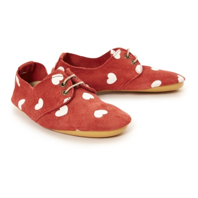 Anniel Heart Print Suede Loafers-listing