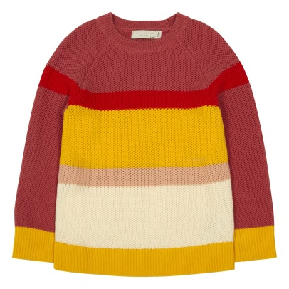Stella McCartney Kids Eva Striped Honeycomb Organic Cotton Jumper-listing