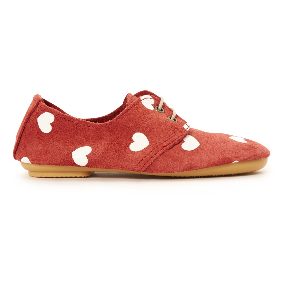 Sale - Heart Print Suede Loafers - Anniel Anniel