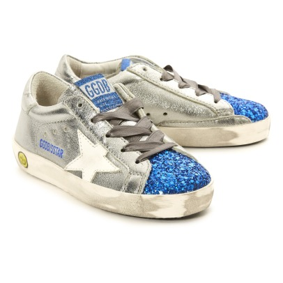 Golden Goose Deluxe Brand Sneakers in pelle efetto metallizato con dettagli blu e paillettes Superstar -listing
