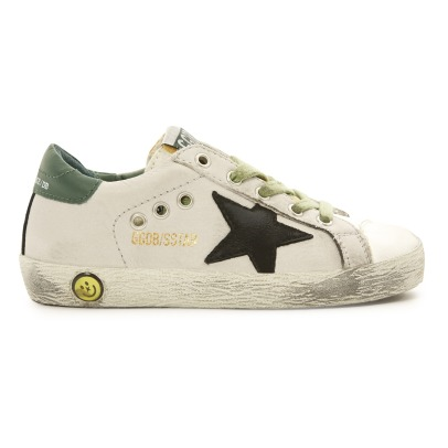 Golden Goose Deluxe Brand Superstar Black Star Green Back Suede Low Top Trainers-listing