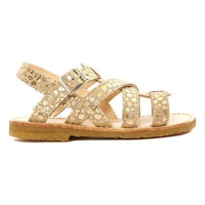 Sale - Velcro Suede Cross Strap Sandals - Angulus Angulus JbCVjmD