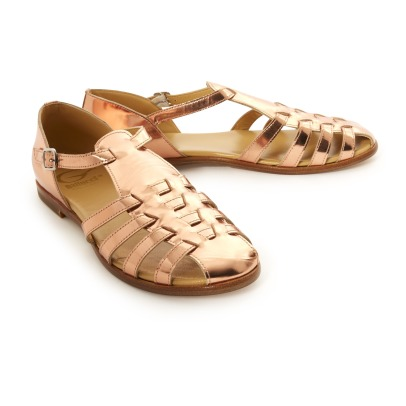 Gallucci Button Loop Metallic Leather Sandals-listing
