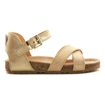 Ocra Metallic Dot Leather Buckled Sandals-listing