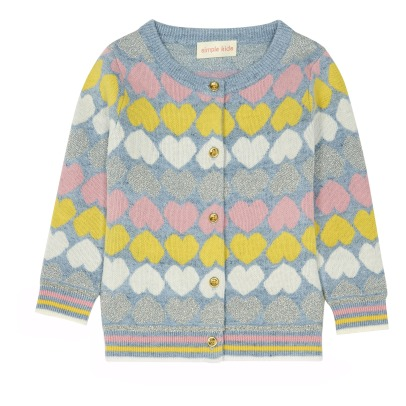 Simple Kids Guava Heart Cardigan-listing