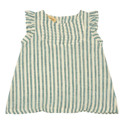 Lab - La Petite Collection Ruffled Stripe Linen Dress-listing