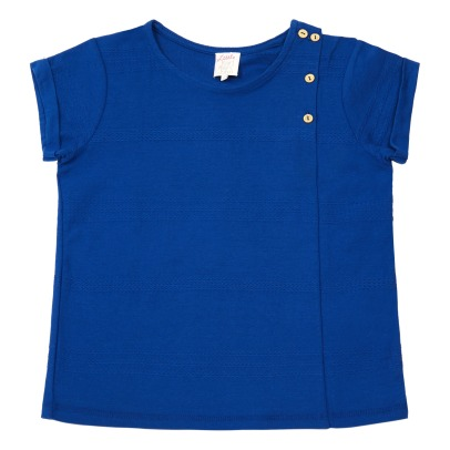 Little Karl Marc John Buttoned Braided Jacquard T-shirt-listing