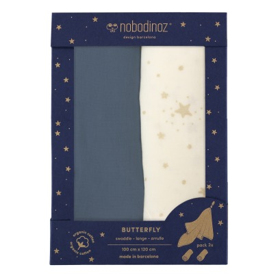 Nobodinoz Butterfly Double Cotton Gauze 100x120cm - Set of 2-listing