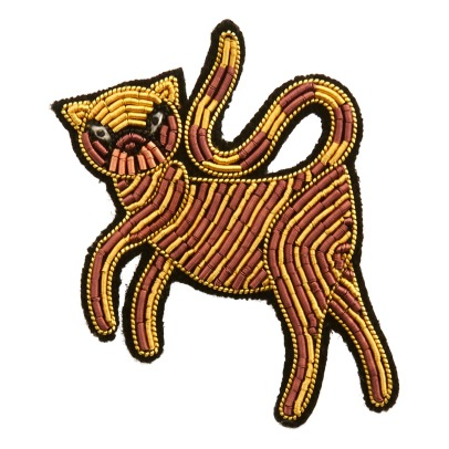 Macon & Lesquoy Embrodiered Greek Cat Brooch-listing