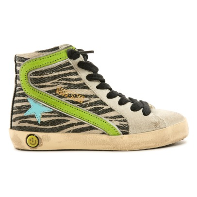 Golden Goose Deluxe Brand Lace-up and Zip Zebra Canvas Slide High Top Trainers-listing