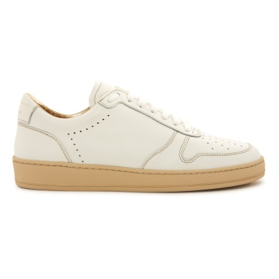 Zespà  ZSP23 Gold Piqué Lace-Up Leather Trainers-listing