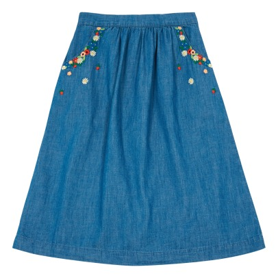Des petits hauts Lalicia Flower Embroidered Denim Skirt-listing