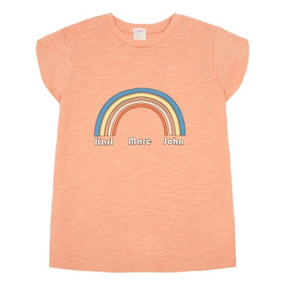 Little Karl Marc John T-Shirt in cotone e lino Arcobaleno Tainbow-listing