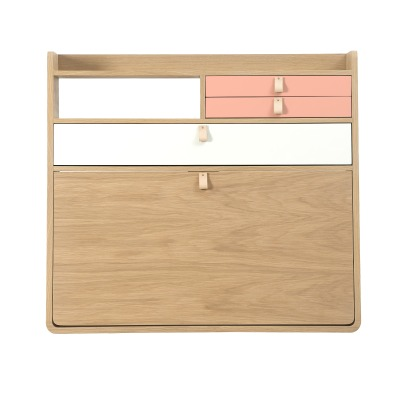 Hartô Gaston Wall Mounted Oak Desk - 80cm Florence Watine - Apricot Pink and White-listing