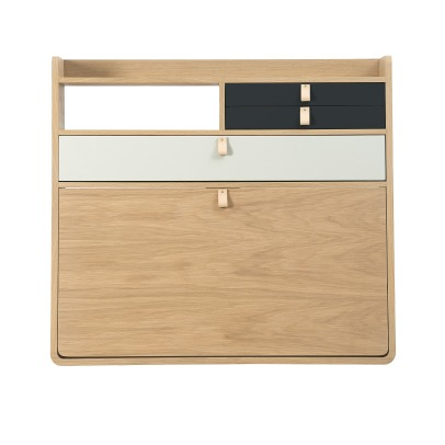 Hartô Gaston Wall Mounted Oak Desk - 80cm Florence Watine - Chalkboard Grey and Light Grey-product