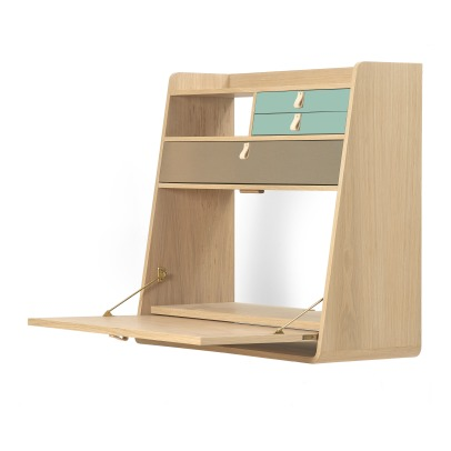 Hartô Gaston Wall Mounted Oak Desk - 80cm Florence Watine - Celadon Green and Brushed Brass-listing