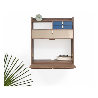 Hartô Gaston Wall Mounted Walnut Desk 60cm Florence Watine - Petrol Blue and Brushed Brass-listing