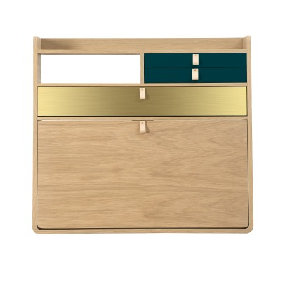Hartô Gaston Wall Mounted Oak Desk - 80cm Florence Watine - Petrol Blue and Brushed Brass-listing
