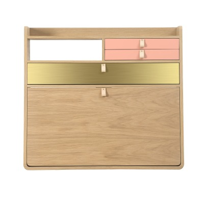 Hartô Gaston Wall Mounted Oak Desk - 80cm Florence Watine - Apricot Pink and Brushed Brass-product