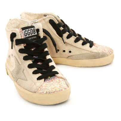 Golden Goose Deluxe Brand Glitter Toe Lace-Up and Zip Canvas Francy High Top Trainers-listing