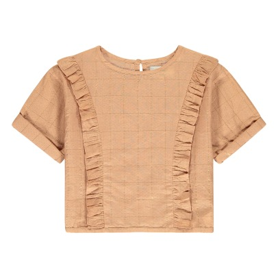 Polder Girl Blouse Carreaux Lurex Volants Dose-listing