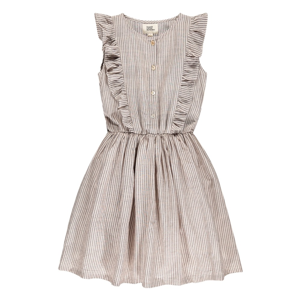 Tina Ruffled Stripe Dress with Buttons-product