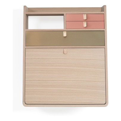 Hartô Gaston Wall Mounted Oak Desk 60cm Florence Watine - Apricot Pink and Brushed Brass-listing